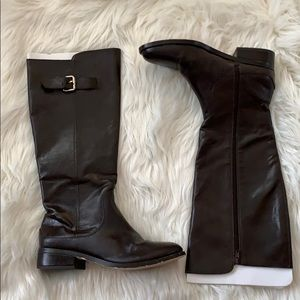Ann Taylor dark brown faux leather riding boot